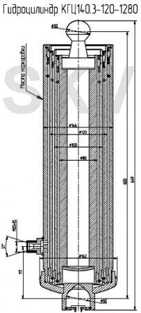 КГЦ140.3-120-1280 гидроцилиндр подъема прицепа 2ПТС-4