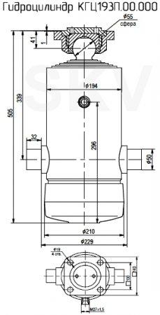 КГЦ193.П.00.000 гидроцилиндр подъема кузова