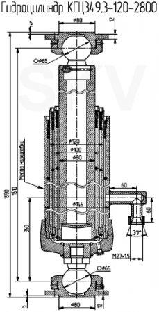 КГЦ349.3-120-2800 гидроцилиндр подъема кузова Урал