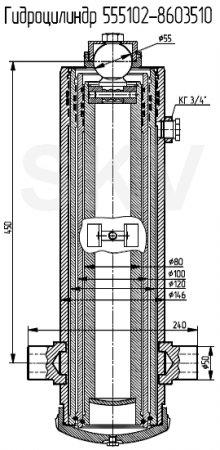 555102-8603510 гидроцилиндр подъема кузова МАЗ
