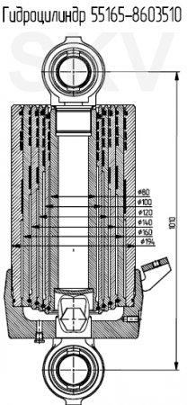 55165-8603510 гидроцилиндр подъема кузова МАЗ
