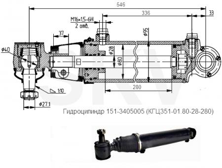 151-3405005 цилиндр ГУР АМАЗ (ЦГ80-280)