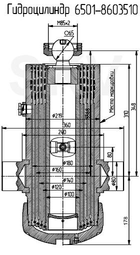 6501-8603510 гидроцилиндр подъема платформы (кузова) самосвала МАЗ-6501, -551605, -61221, -6430; прицепа МАЗ-8561