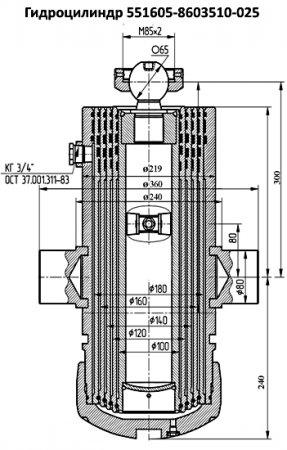 551605-8603510-025 гидроцилиндр подъёма кузова МАЗ