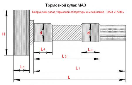 Кулак разжимной 103-3502110/111 задний (L=543mm)